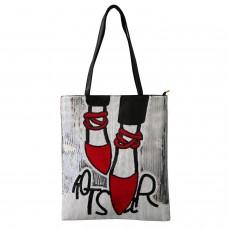 Shopper-Tasche Shoes, silber schwarz rot 0