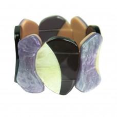 Stretcharmband Antonita, purple schwarz weiß 0