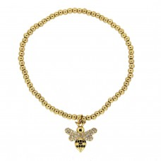 Stretcharmband Small Bee, gold crystal 0