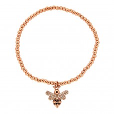 Stretcharmband Small Bee, rose gold crystal 0