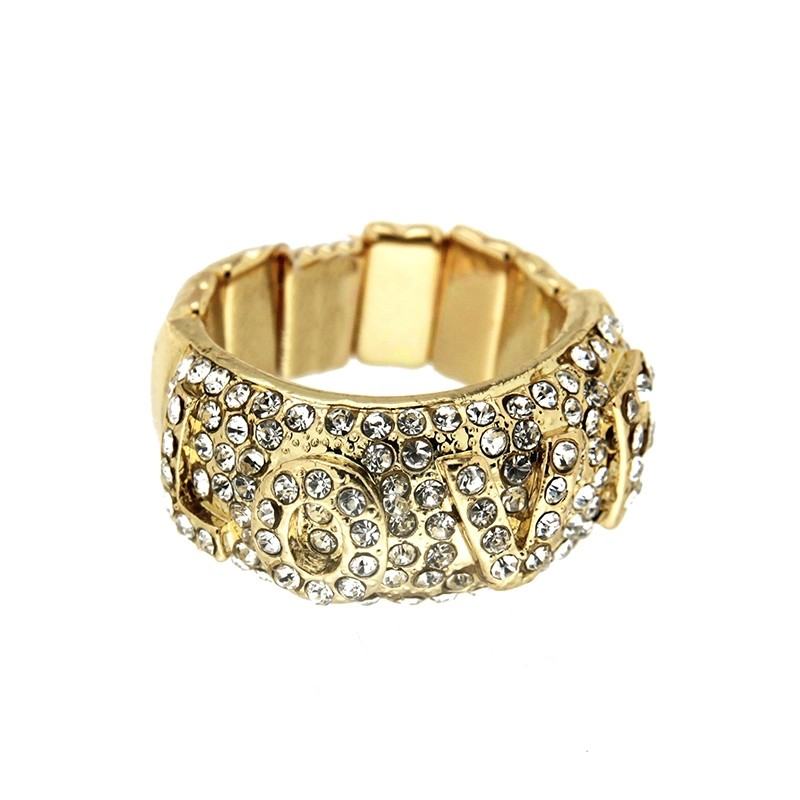 Stretchring Love, gold/crystal