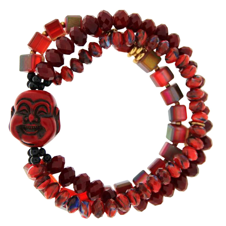 Armband Buddha Ursule schwarz rot 0