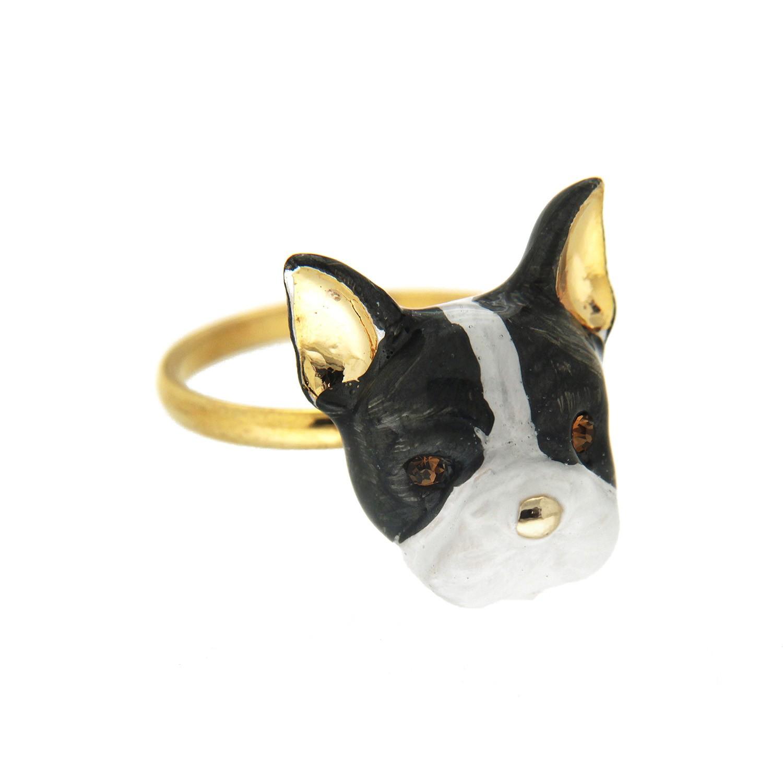 Ring Dog, gold schwarz weiß 0
