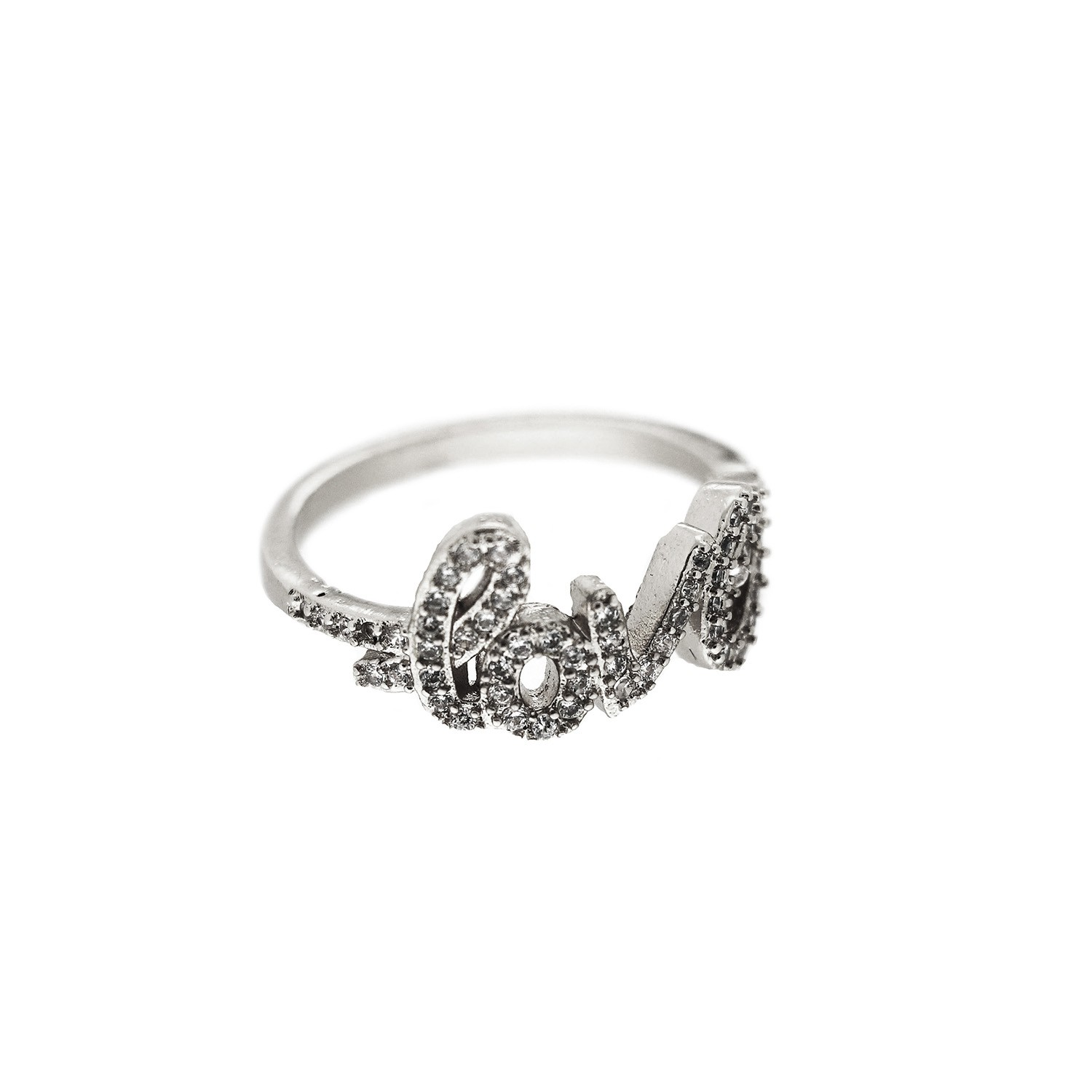 Ring love, silber crystal 0