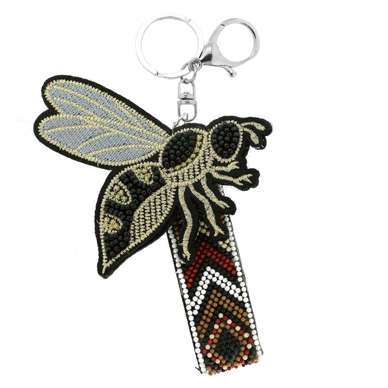 Schlüsselanhänger Bee Big Wings, schwarz weiß silb 0