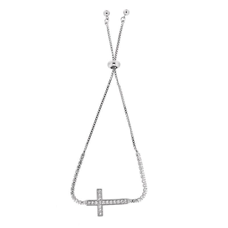Sliding Armband Kreuz, silber crystal 0