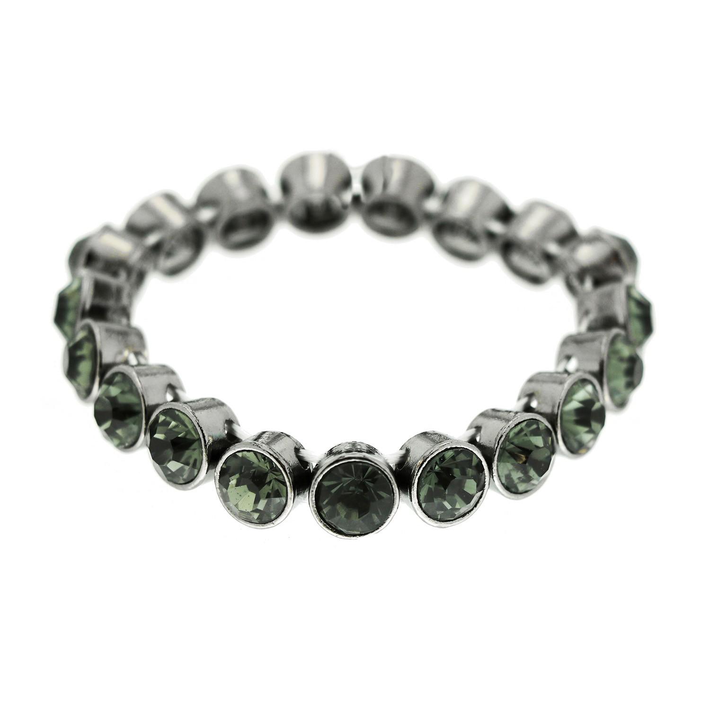 Strechtarmband Fea, gunmetal bl. diamond 0