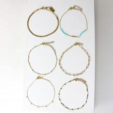 Armband Set Bulan, gold/türkis/grün/crystal