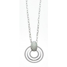 Kette, silber/weiß marmor./sil.glitzer