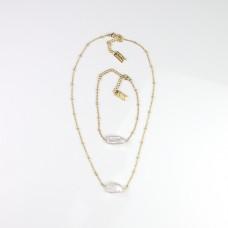 Kette und Armband Set, gold/pearl