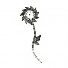 Brosche Klammer Flower, silber black diamond 0