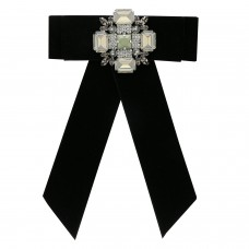 Brosche Arieta mit Schleife, schwarz crystal weiß 0