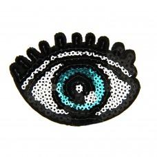 Brosche Eye, schwarz weiß blau 0