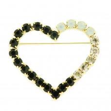 Brosche Herz, crystal schwarz weiß opal 0