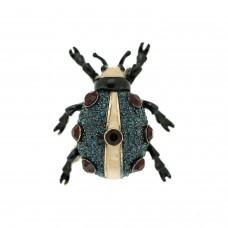 Brosche Käfer, schwarz blau rot 0