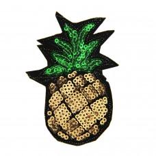 Brosche Pineapple, schwarz grün gold 0
