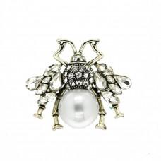 Brosche Spider big, antiksilber crystal Perle 0