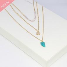 Kette Edoarda, gold perle jadegrün 0
