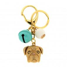 Schlüsselanhänger Dog, gold türkis weiß 0
