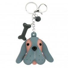 Schlüsselanhänger Dog Head, silber grau rosa 0