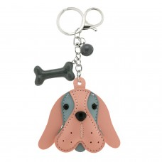 Schlüsselanhänger Dog Head, silber rose grau 0