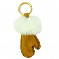 Schlüsselanhänger Handschuh, braun weiß 0
