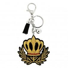 Schlüsselanhänger Krone, silber gold schwarz 0