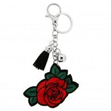 Schlüsselanhänger Rose, silber rot grün 0