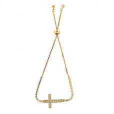 Sliding Armband Kreuz, gold crystal 0